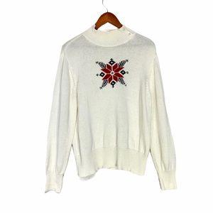Vintage Poinsettia Knit Winter White Sweater